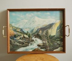 Vintage Wood Serving Tray with Landscape Mountain and Waterfall Scene Print Under Glass.