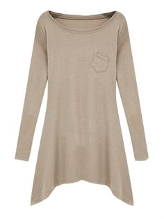 Solid Color Asymmetric Hem Long Sleeve T-Shirt
