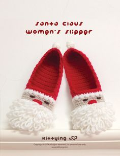 Santa Claus Women's Slipper Crochet PATTERN, Instant PDF Download - This crochet pattern is designed for - US / Canada women's sizes of 5 - 10 - Europe women's sizes of 35 - 42 - UK women's sizes of 2.5 - 7.5