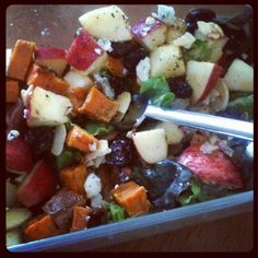 Go To Autumn Salad  ~roasted sweet potato (or butternut squash) cubes (tossed with olive oil, maple syrup, salt & pepper; roast at 400°F for 25 minutes-30)  ~chopped apple and/or pears  ~dried cranberries  ~crumbled blue and/or goat cheese  ~toasted almonds/pecans/walnuts  ~vinaigrette: olive oil, apple cider vinegar, pumpkin butter, Dijon, s&p