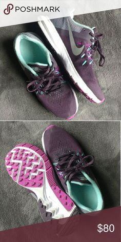 Nike zoom winflo 2 Trainers great like new condition , super comfortable (like running on clouds) I only wore them Inside my house . Reflective logo for safe running.    Purple/ aqua / white Nike Shoes Athletic Shoes