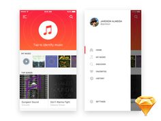 Unique free UI PSDs & resources for Designers - Uix One: iOS Music Identifier - Freebie