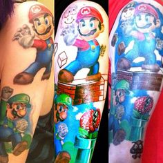 """So here is the updates for my Super Mario Brothers sleeve side by side. I have a couple sessions left. Super excited to get this finished up. c: / Artist: Jake Stockstell from ""Apothecary Tattoo"" in San Luis Obispo, CA. Super Mario Tattoo, 3d Tattoos, Sleeve Tattoos, Tatoos, Super Mario Brothers, Tattoo Design Drawings, Mario Bros., Monster Art, Body Mods"