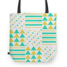 Círculos, linhas e triângulos - II | Desenho/Estampa de @danistarart | A venda na @colab55 | #círculos #linhas #triangulos #geométrico #geometric #verde #laranja #green #orange #bolsa #bag #totebag #sacola #estampa #pattern