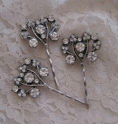 Wedding Hair Pins Clear Crystal Rhinestone by theraggedyrose, $28.00