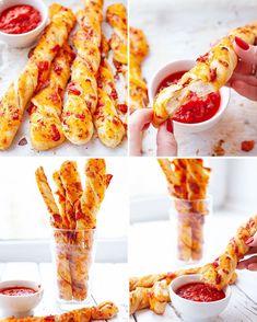 Zwijane paluchy pizzowe z salami i serem Baby Food Recipes, Snack Recipes, Cooking Recipes, Healthy Recipes, Helathy Food, Birthday Snacks, Pizza, Savoury Baking, Tasty