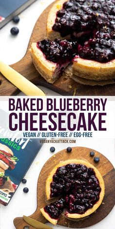 This vegan, Baked Blueberry Cheesecake is luscious and SO much like the traditional version! Plus, it's gluten-free! Indulge in this delectable dessert from Lauren Toyota's cookbook, Vegan Comfort Classics, and you won't be disappointed. No Bake Blueberry Cheesecake, Gluten Free Cheesecake, Cheesecake Recipes, Vegan Tofu Cheesecake, Vegan Treats, Vegan Foods, Vegan Snacks, Vegan Dessert Recipes, Gluten Free Desserts