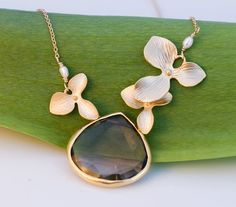 Gold orchid necklace with warm smokey quartz drop, , ,
