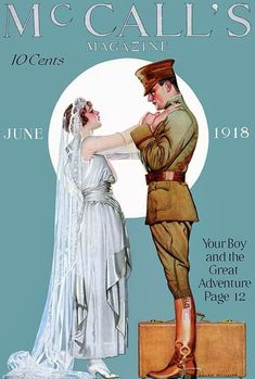 June 1918 ~ Cover by Coles Phillips ~ Clarence Coles Phillips (Oct 1880 – June was an American artist & illustrator who signed his early works C. Coles Phillips, but after 1911 worked under the abbreviated name, Coles Phillips. Vintage Advertisements, Vintage Ads, Vintage Images, Vintage Prints, Vintage Posters, Vintage Ephemera, Magazine Mode, Magazine Art, Old Magazines