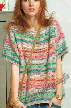 Пуловер женский крючком (ж) 01*90 Phildar №3746