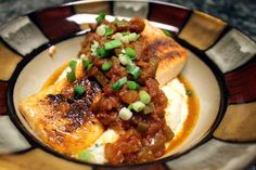 Broiled Cajun Salmon with Creole Sauce over Cheese Grits