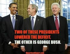 Bill Clinton and Barack Obama are the only two presidents in 50 years to reduce the deficit.