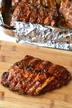 I like to consider myself a rib conneouseur. Over time and after eating more ribs then most people will have in a lifetime, I have determined that there are two factors (other then the flavour) which… Slow Cooked Oven Ribs, Oven Pork Ribs, Ribs Recipe Oven, Boneless Pork Ribs, Oven Baked Ribs, Ribs On Grill, Beef Ribs, Pork Chop, Paleo Honey