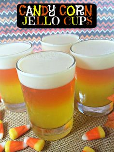 Looking for Halloween party ideas? Check out these Jello Candy Corn Cups by This Mama Loves!