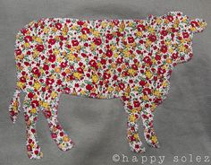 vintage farmhouse cow applique (on a jacket)