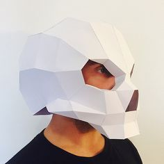 Make Your Skull Mask Helmet from paper, PDF pattern mask, Polygon Face DIY Paper Mask, Papercraft, Party Puzzle from FedoraHouse on Etsy Studio