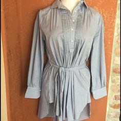 Blue and white pin stripe belted tunic🍁weekend🍁 100 percent cotton tunic/ shirt dress depending on your height. New. Pin tucks . See picture. Stylish for fall Tops Tunics