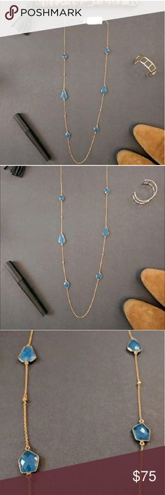 Argento Vivo 18K gold plated long necklace This gorgeous new with tags 18K gold plated sterling silver necklace has six 18k gold vermeil faceted cushioned geo stones stationed along the strand. The blue colored stones are beautiful! This would make a lovely gift. Gift Box included. Argento Vivo Jewelry Necklaces