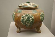 Tang Dynasty sancai pottery footed jar - Sancai - Wikipedia, the free encyclopedia