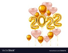 Gold Balloons, Heart Balloons, New Year Wishes Images, Illusion Paintings, Nouvel An, Happy New Year, Vector Free, Merry Christmas, Happy Birthday