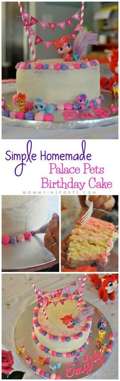 Having a Palace Pets Birthday Party? Try making this Simple Homemade Palace Pets Birthday Cake! It's easy, delish and all you need is some Palace Pets toys for toppers!