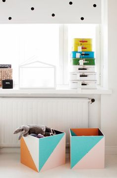 Painted Wooden toy boxes