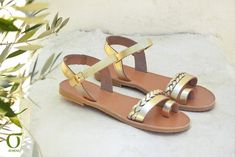 Greek leather sandals with minimal design that are featured with a handmade sewed tress. Enjoy every step in these stylish and comfy leather sandals!  Our finest quality materials are:  Genuine leather for leather straps and insole, that comes from the island of Crete and it is famous for its superior quality and uniqueness. Two types of durable and flexible italian rubber are used for our handmade soles, that are officially patented. Enjoy plenty miles of comfortable walk , and your anti…