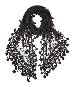 Black Floral Crochet-Trim Scarf