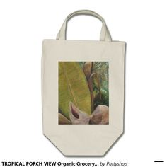 TROPICAL PORCH VIEW Organic Grocery  Tote Bag