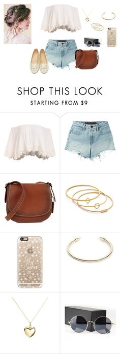 """""""<3"""" by franmalik-1 ❤ liked on Polyvore featuring T By Alexander Wang, Coach 1941, Madewell, Casetify, Elizabeth and James, Argento Vivo, Sunny Eyewear and Charlotte Olympia"""
