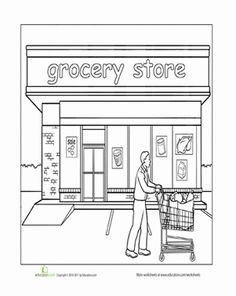 Preschool Places Worksheets: Paint the Town: Grocery Store