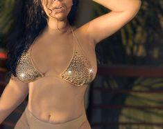 SKIN Crystal Bikini in French Vanilla | Etsy Growing Facial Hair, Small B, French Vanilla, High Cut, Bikinis, Swimwear, Crystals, Trending Outfits, Etsy