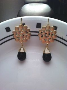 Gold Plated Bubble Pendant with Black Onyx by PacificAndKey, $23.00