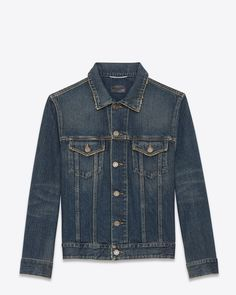 SIGNATURE SAINT LAURENT JEAN JACKET WITH subtly distressed FRONT FLAP POCKETS AND 2 WAISTBAND TABS.