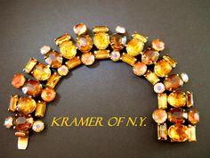 Kramer of NY Bracelet Vintage Topaz ABs Pink by RenaissanceFair