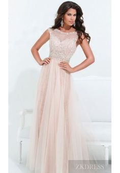 Affordable evening gowns! Elegant Natural Floor A-Line Bateau Champagne Evening Dresses In Stock zkdress26724