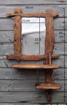 Driftwood / rustic style mirror and shelves in recycled pine with medium dark beeswax finish