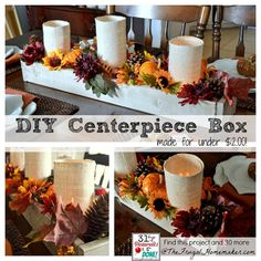 DIY Wood Centerpiece Box - could be changed up and filled with seasonal decorations for different holidays Wooden Box Centerpiece, Wood Centerpieces, Wedding Centerpieces, Autumn Crafts, Holiday Crafts, Decor Crafts, Diy And Crafts, Simple Crafts, Wood Pumpkins