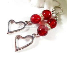 Red Beaded Heart Earrings with Rhinestone by EnchantedRoseShop