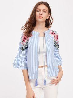 Blusa de bordado con cordón -Spanish SheIn(Sheinside)