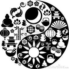 Yin Yang hecho con iconos del zen