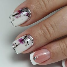 Want some ideas for wedding nail polish designs? This article is a collection of our favorite nail polish designs for your special day. Square Nail Designs, Flower Nail Designs, Short Nail Designs, Nail Polish Designs, Nail Polish Colors, Nail Art Designs, Nails Design, Trendy Nails, Cute Nails