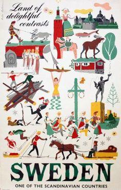 Vintage Travel Poster - Sweden