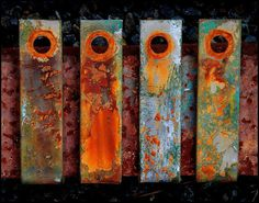 Can old, rusty metal be art? You bet! Any one of these, or all together, would be great for a fall design. Rusted Metal, Metal Art, Rust In Peace, Peeling Paint, Foto Art, Art Abstrait, Texture Art, Textures Patterns, Color Inspiration