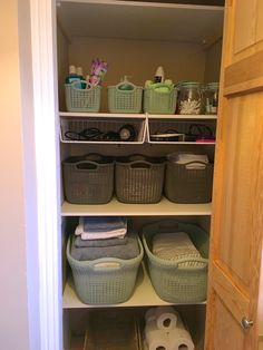 Laundry cupboard with storage from curver - the knit collection Laundry Cupboard, Laundry Basket Storage, Airing Cupboard, Cupboard Storage, Storage Baskets, Storage Ideas, Laundry Room, Bathroom Closet, Smart Storage