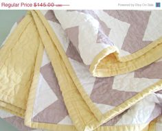 HAPPY FOURTH SALE Chevron Baby Quilt - Modern Quilt - Yellow and Grey Quilt on Etsy, $118.90