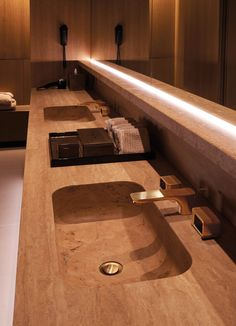 """Patricia Urquiola Gold fittings from the """"Axor Urquiola"""" collection adorn the washstands in the Spa of the Four Seasons Hotel in Milan"""