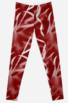 "Leggings - Be prepared for the compliments ""Nature's Design in Red by MMadson  #Leggings #Fashion #women #Girls #Red #Health #Yoga #fitness #Exercise #Beautiful"