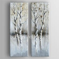 Hand-Painted Abstract Two Panels Canvas Oil Painting For Home Decoration 2017 - $103.19