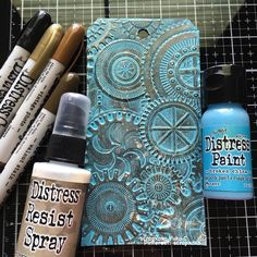 Timholtz Mechanics tag - Scrapbook.com Distress Ink Techniques, Embossing Techniques, Tim Holtz Distress Ink, Distress Oxide Ink, Handmade Tags, Distressed Painting, Artist Trading Cards, Copics, Embossing Folder
